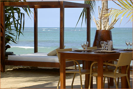 Images of tropical beach with dining table